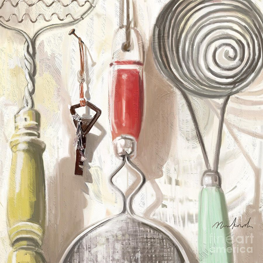 Old Fashioned Kitchen old fashioned kitchen toolslinda minkowski | watercolor art