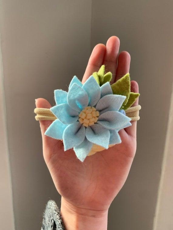 Blue Felt Flower Headband- Cornflower Blue Flower- Felt Flower Headband- Baby Headbands