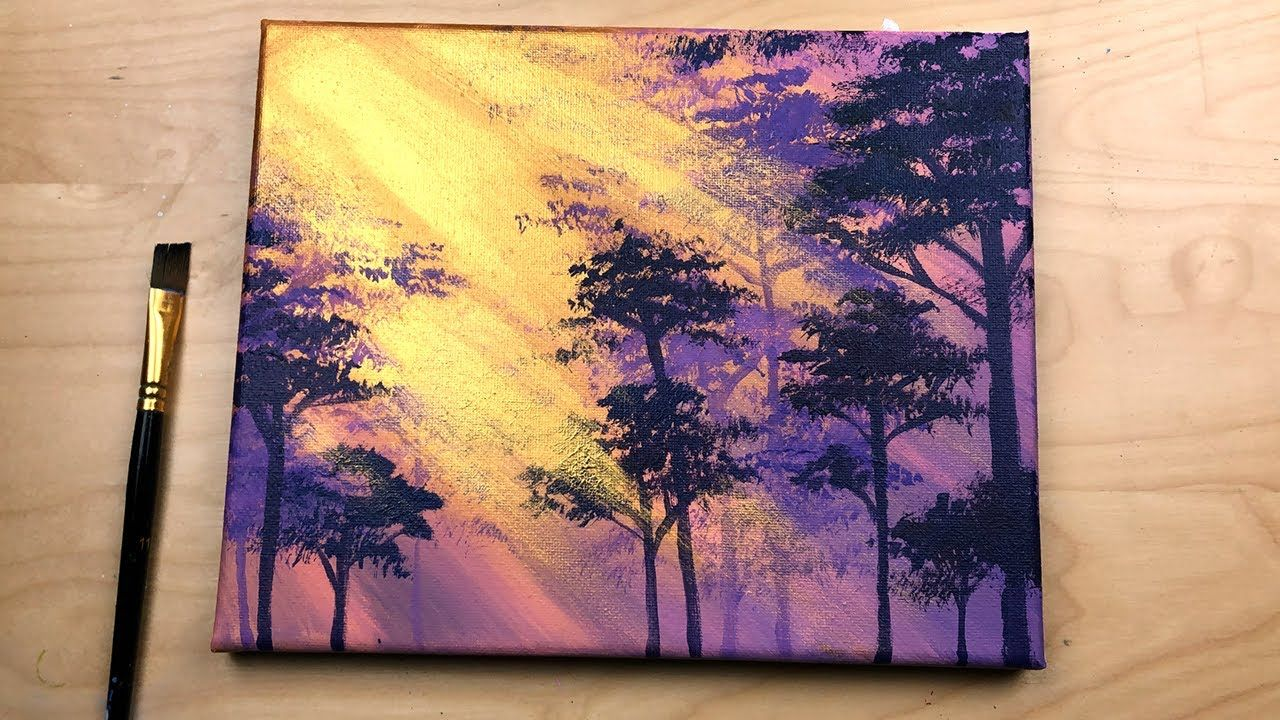 Gold Purple Forest Easy Acrylic Painting Step By Step For