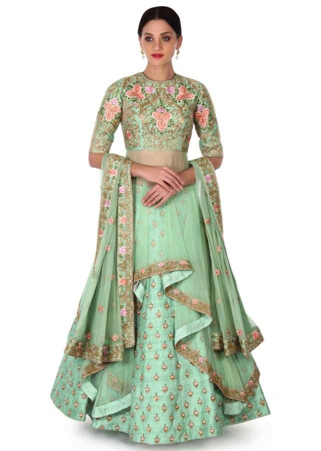 f428f6a3f83879 Green lehenga with long embroidered blouse only on Kalki