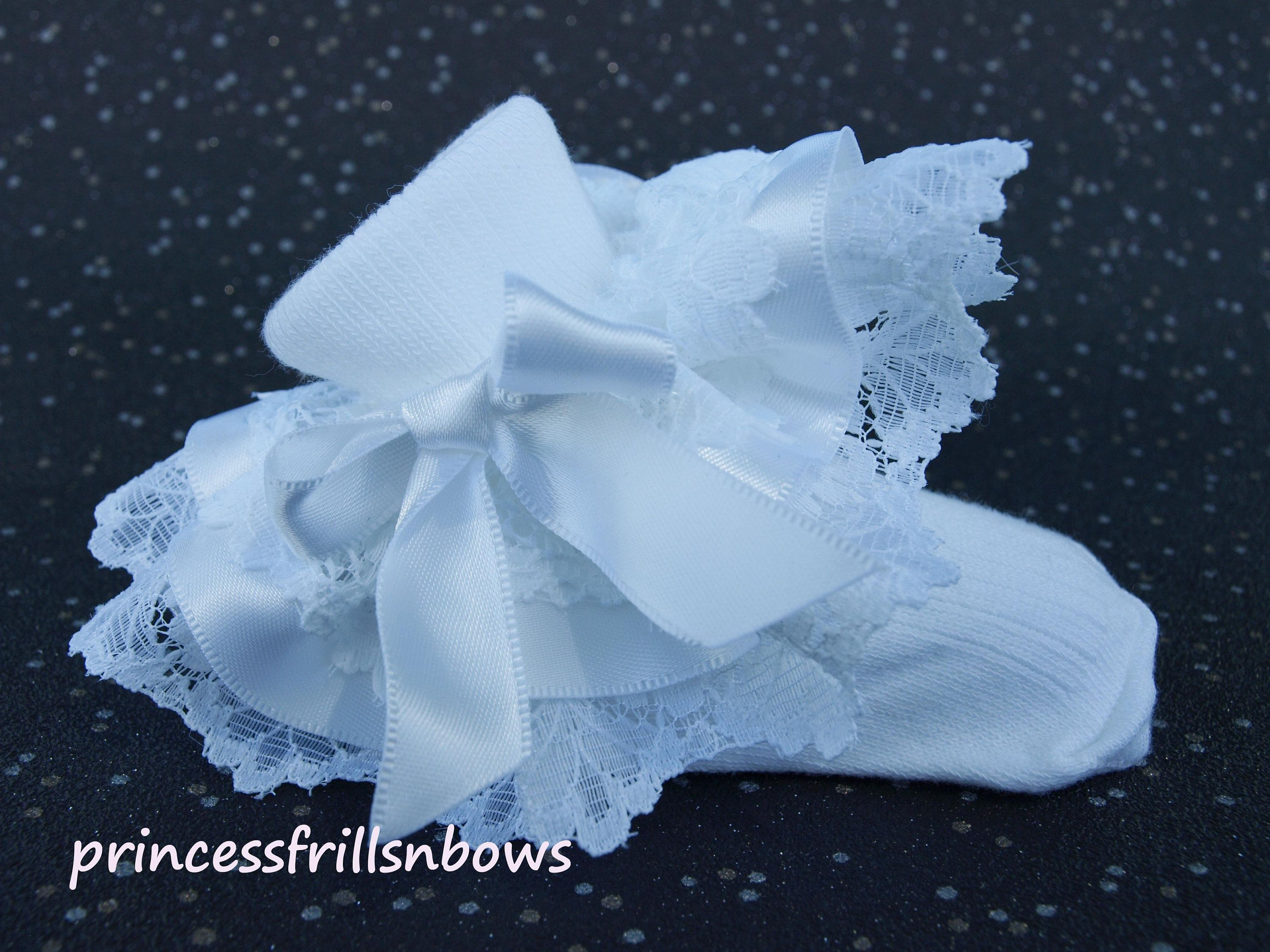 Handmade Baby Girls White Frilly Silver Gold Pink Satin Christening Socks