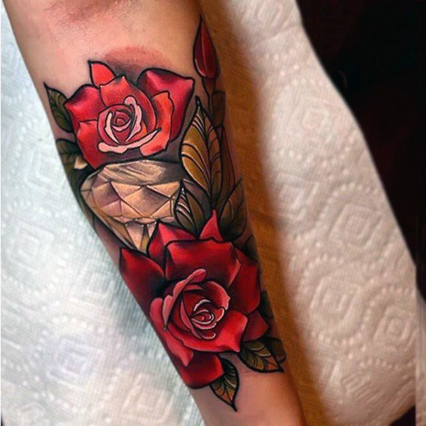 Neo Traditional Diamond With Red Roses Forearm Male Tattoos Tattoo