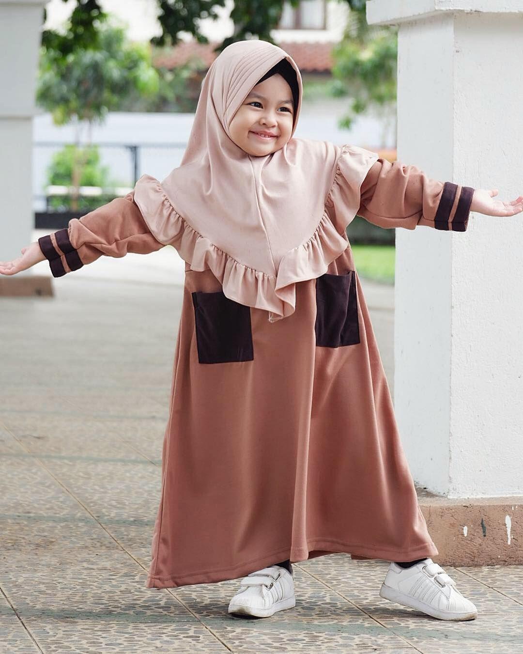 Model Gamis Anak Coklat  Model pakaian hijab, Pakaian bayi