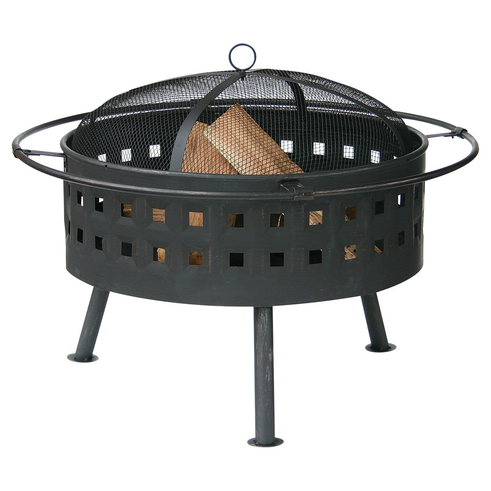 Uniflame in round wood burning fire bowl with lattice design