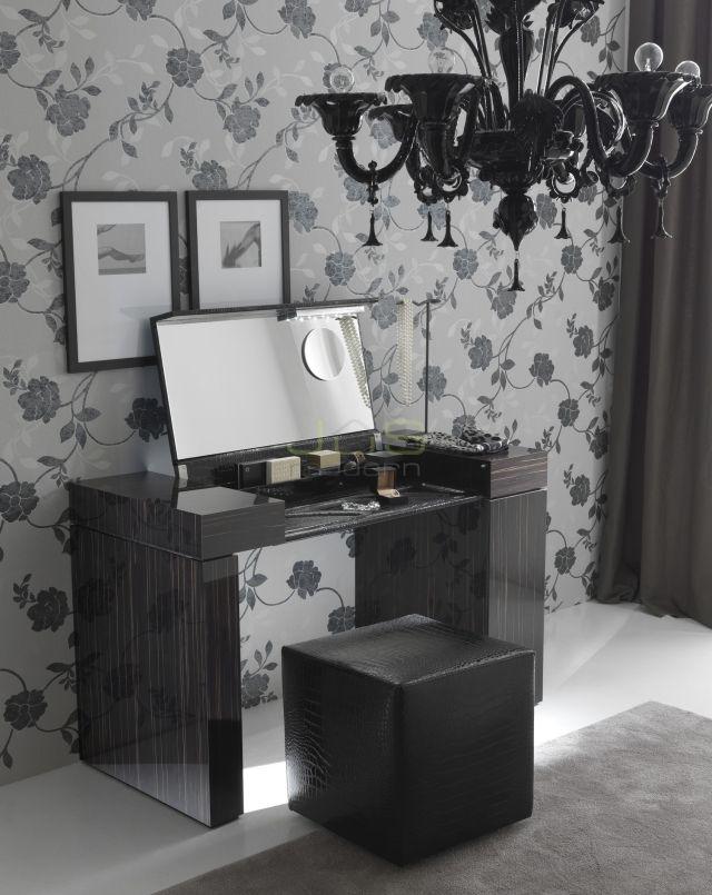 Schminktisch Design Hochglanz Schwarz Holzmaserung Aufklappbarer Spiegel  Nightfly Rossetto Furniture