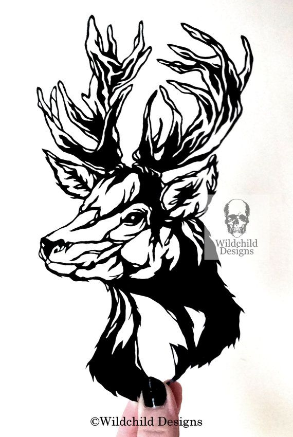 Stag Head Paper Cutting Template, Personal Use, Vinyl