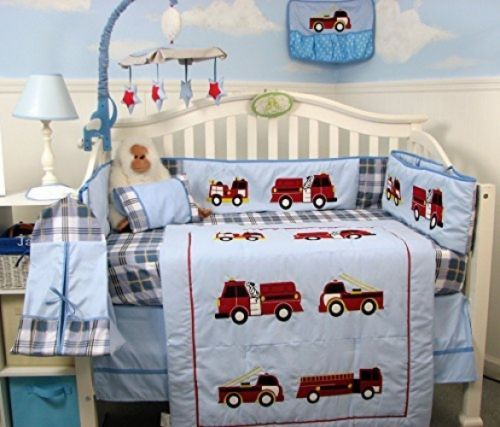Details About Boys Crib Bedding Fire Truck Firefighter Dog