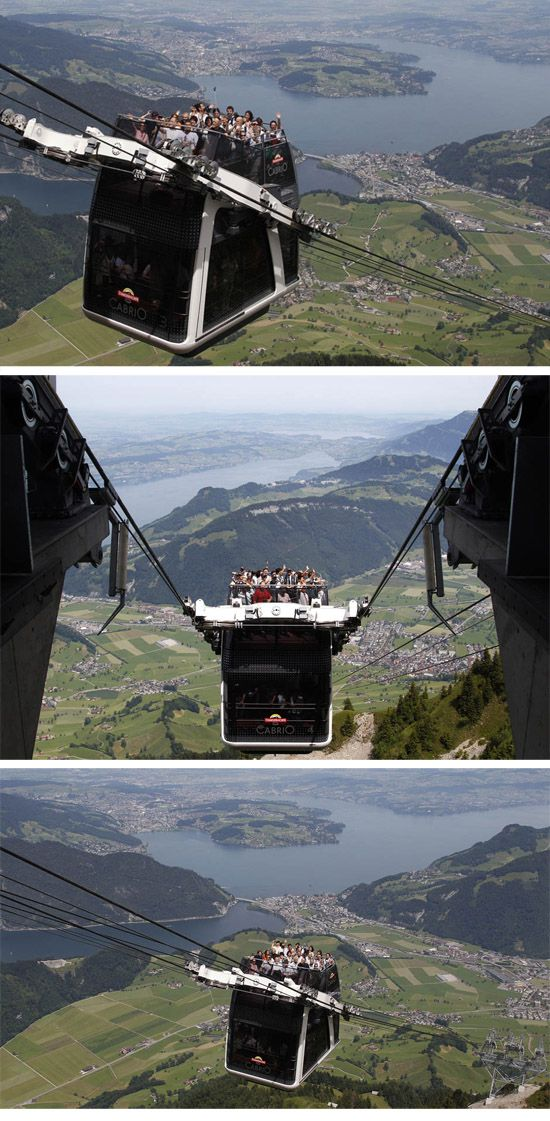 World's first convertible cable car not for the faint of heart ( Swiss Alps http://news.nationalpost.com/2012/06/28/worlds-first-convertible-cable-car-not-for-the-faint-of-heart/  ) ride on top!