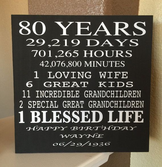 80 Year Old Birthday Wood Sign... Can Be Customized To Any