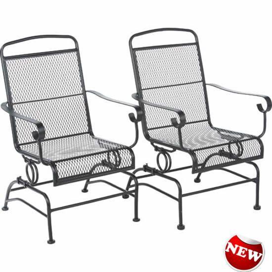 Steel Mesh Spring Rocker Set With Bases Outdoor Patio Backyard Furniture