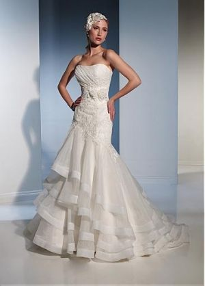 Charming Organza & Satin Mermaid Strapless Neckline Wedding Dress with Appliques and Handmade Flowers at Dressilyme.com by DressilyMe