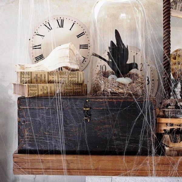 vintage halloween decorations wooden box books clock spider web bird - vintage halloween decorating ideas