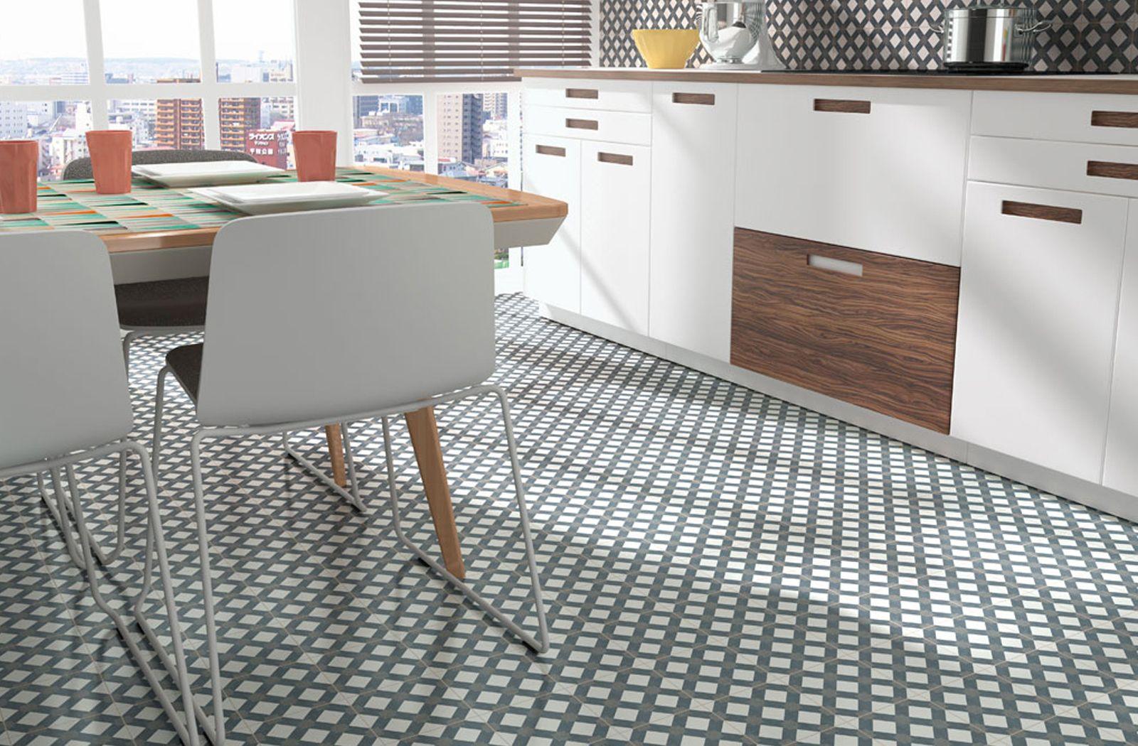 Kitchen And Backsplash Patterned Floor Tiles