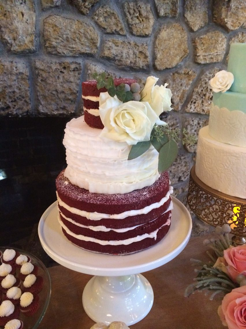 Vintage Rustic Style Wedding Cake Red Velvet Half Naked With Buttercream Ruffles And Fresh