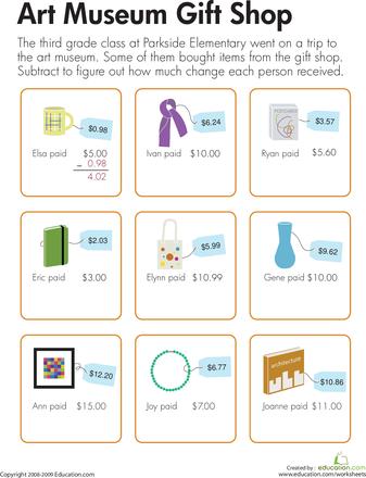 Making Change At The Gift Shop Worksheets Change And Math Worksheets