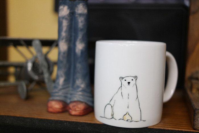 Hand painted animal mug cup - Cute mug cup -Polar Bear mug cup (21.00 USD) by CreativeStoneCera