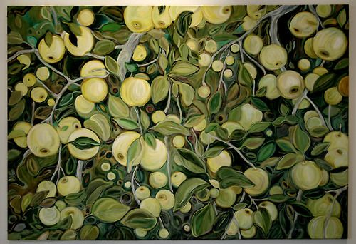 Green Apples - Lucinda Storms - oil on canvas 4' x 6'