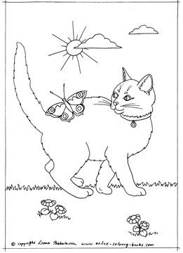 Color This Pretty Little Cat With A Butterfly Color Pages
