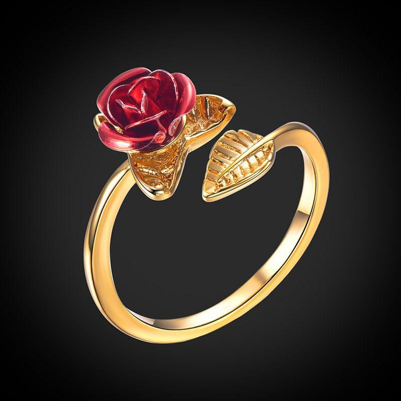0411bf9a4 Red Rose Flower Ring 18K Gold Plated Jewelry Gifts For Women – U7 Jewelry