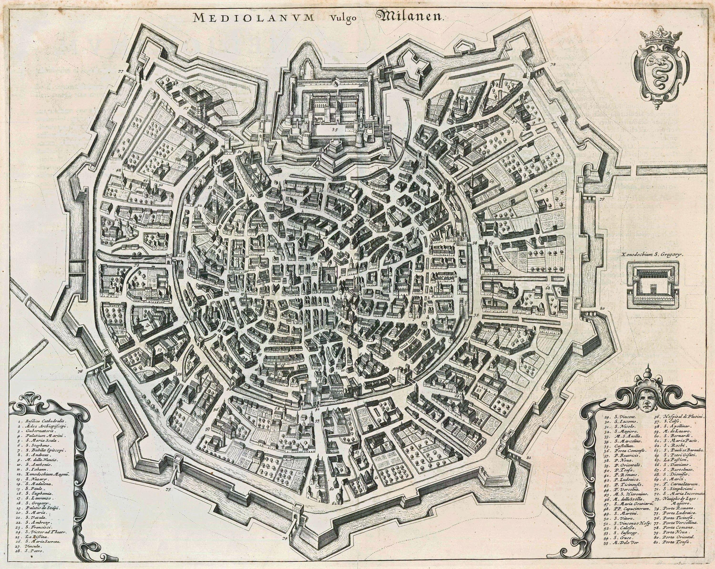 Old, Antique Map  Birds Eye View Plan Of Milan (Milano)