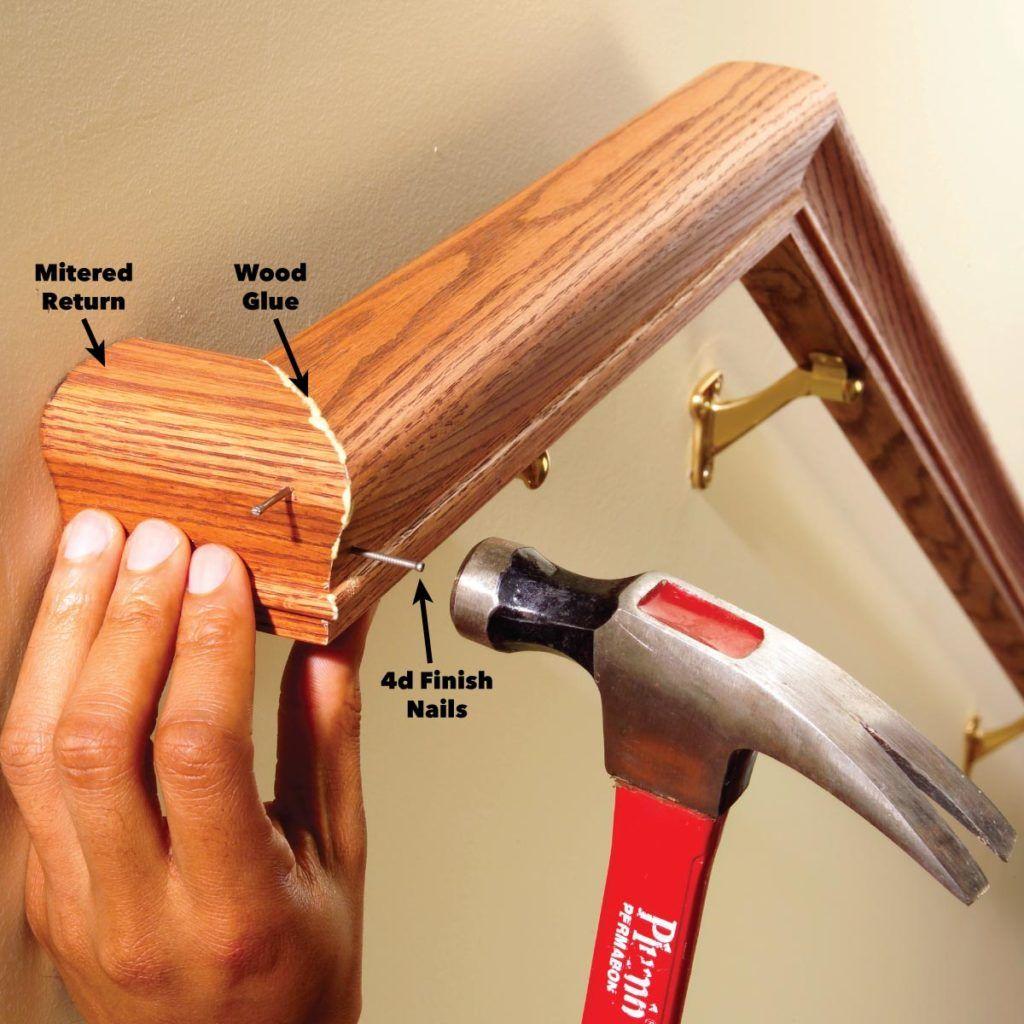 Install a New Stair Handrail   Stair handrail, Handrail ...