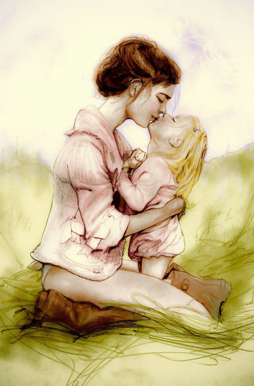 Танком, картинки дочка с мамой рисованные