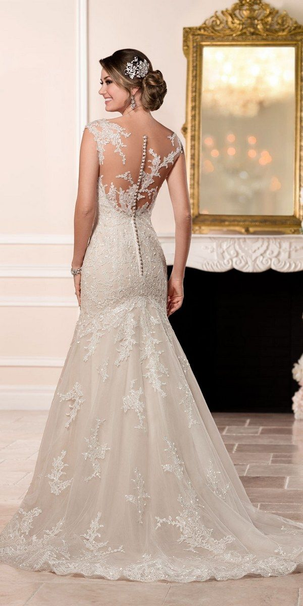 Back This Tulle Over Organza Fit And Flare Stella York Wedding Dress Features Light Catching Clear Beading On Embroidered Lace Throughout