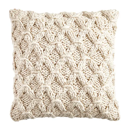 Woven Cream Knit Throw Pillow Cover