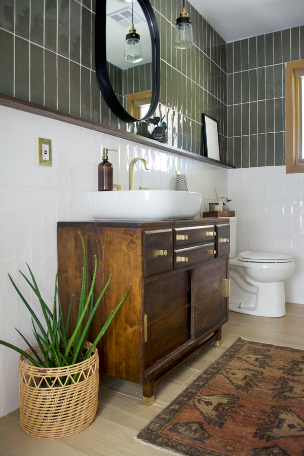 Photo of Green and White Color Block Tile Bathroom | brepurposed