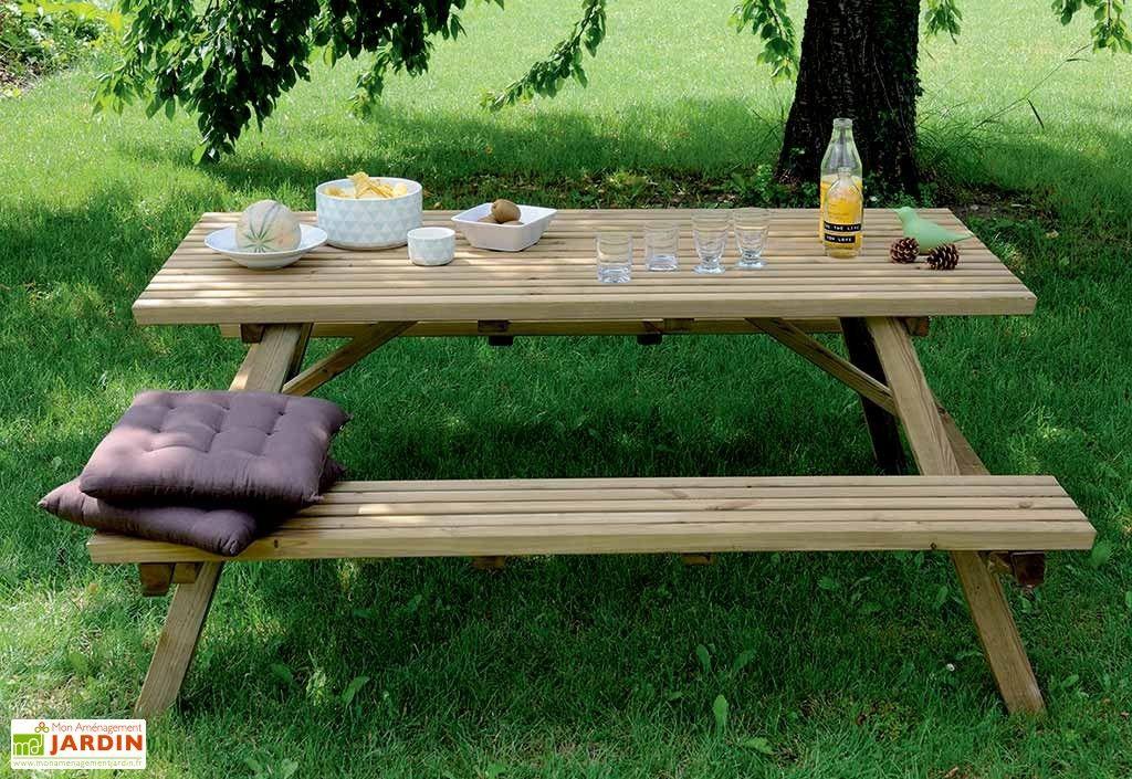 table de pique nique 170 cm bois autoclave fsc mobilier de jardin d co maison et idee deco. Black Bedroom Furniture Sets. Home Design Ideas