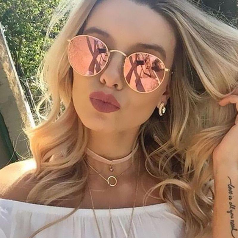 f08d408979 Marca de lujo de Diseño de gafas de Sol Redondas Mujeres Hombres Diseñador  de la Marca Vintage Retro Gafas de Sol de Espejo Para Señoras de las Mujeres  ...
