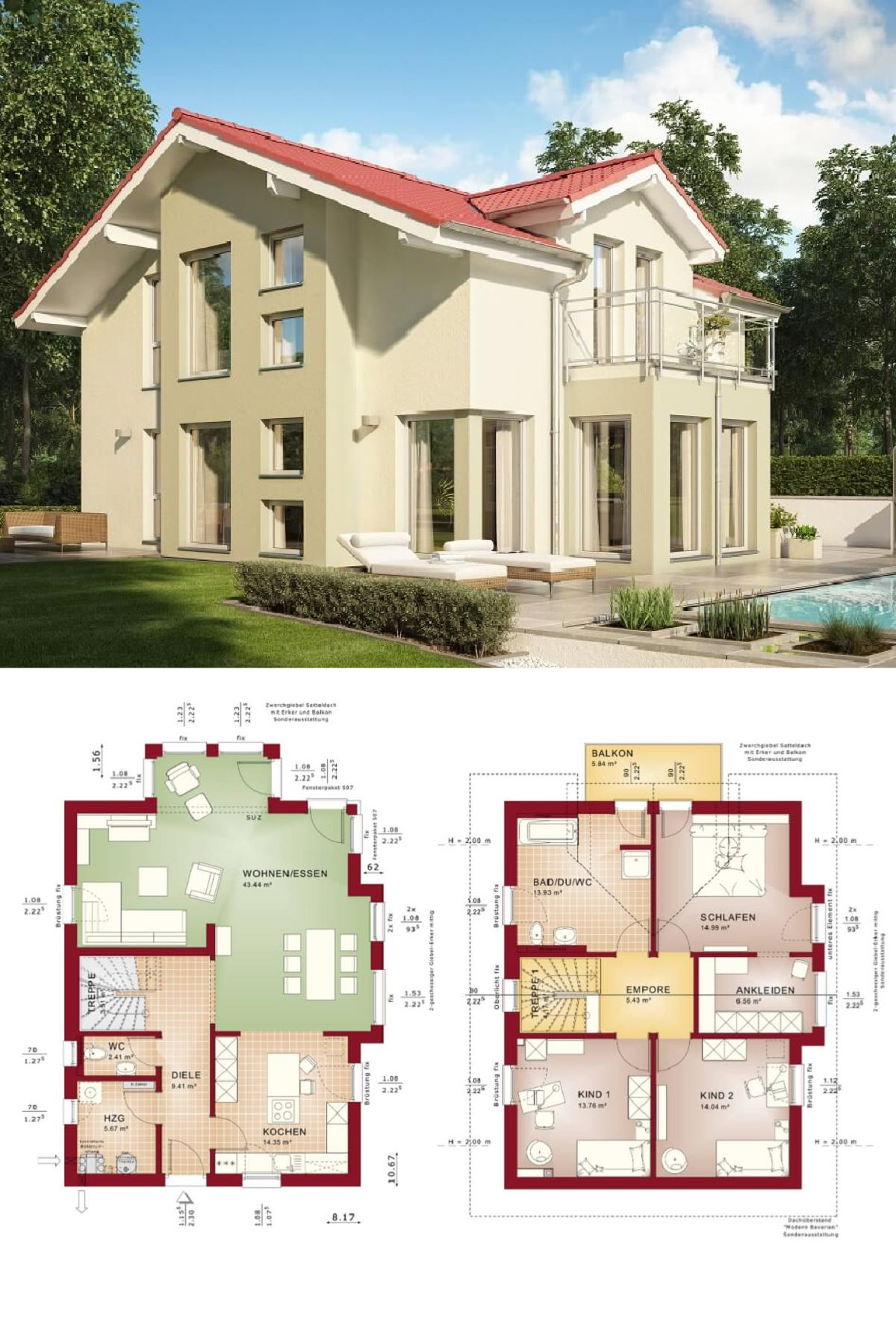Modernes Haus mit Satteldach - Einfamilienhaus Celebration 137 V9 ...