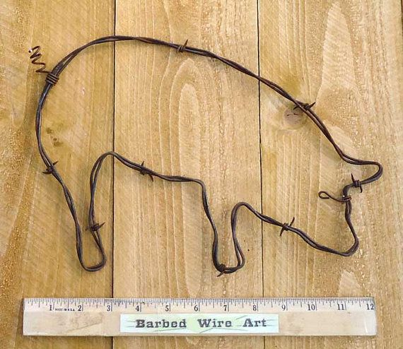 Pig handmade metal decor barbed wire art country western