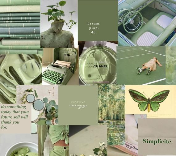 SAGE green photo wall kit ~ olive green ~ sage aesthetic ~ wall decor ~ photo wall collage kit