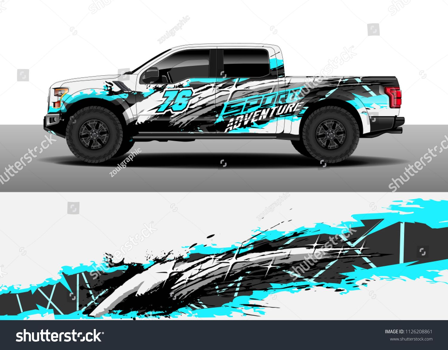 Truck decal cargo van and car wrap vector graphic abstract grunge stripe designs for