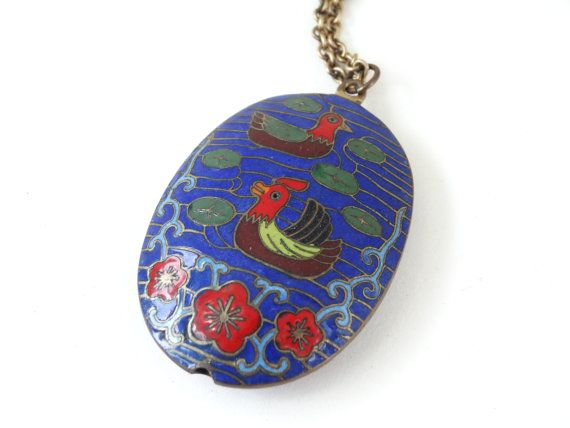 Vintage Cloisonne Enamel Duck BIRDS Necklace on 14K Gold Filled Wells Chain Unique Old Possibly Antique Asian Jewelry #etsy #teamlove