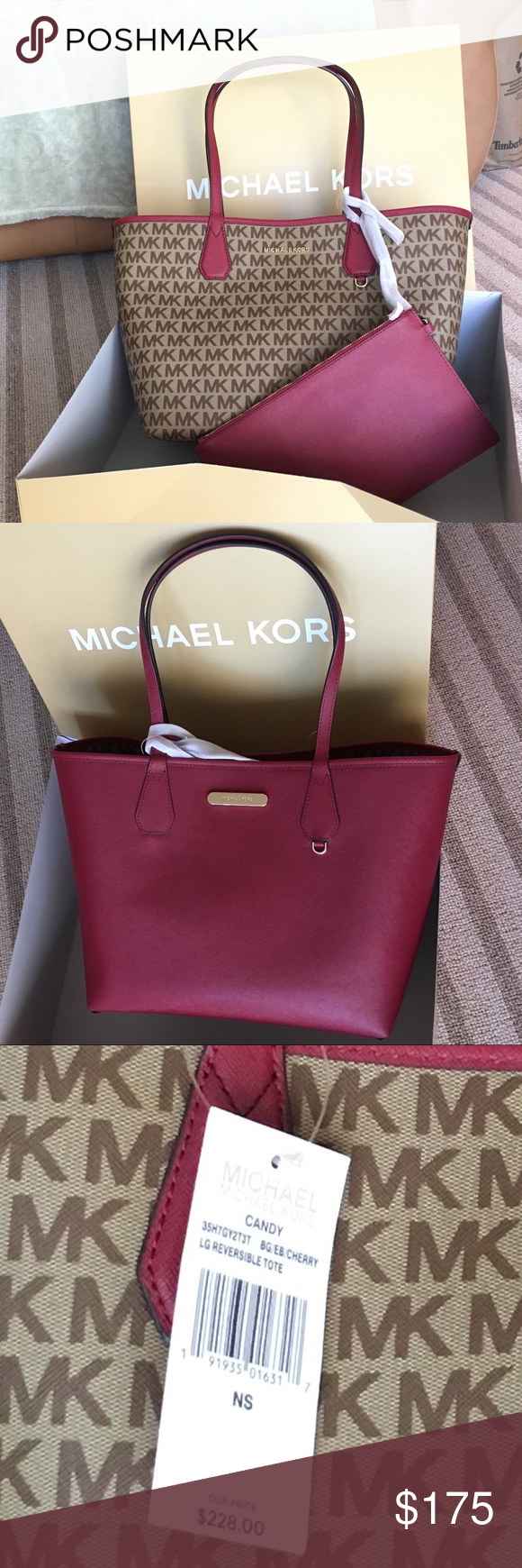 e8a7d4cc68c252 Michael kors candy reversible tote bag New with tag attach. Maroon red on