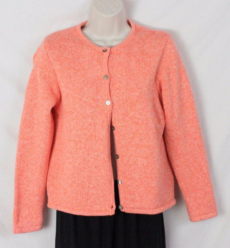 LL Bean Sweater M Petite MP size Orange Cotton Cardigan Womens ...