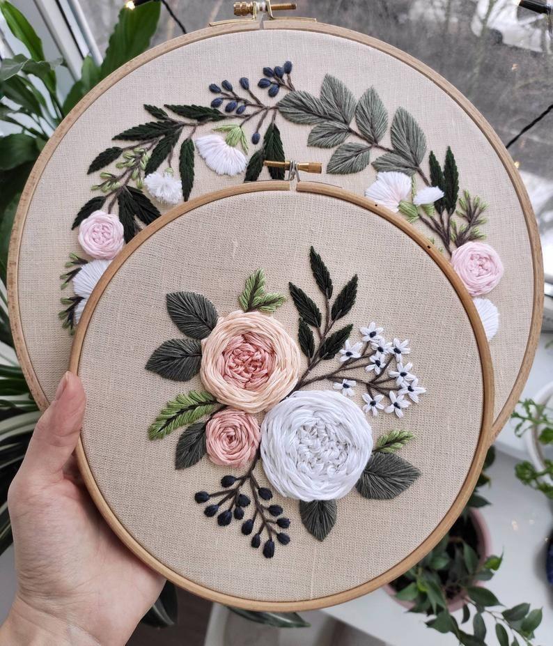 Pdf pattern+ video tutorial. Garden roses/ digital tutorial floral diy  hand embroidery Digital Download – Handstickerei