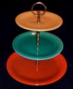 Vintage Fiesta Ware 3 Tiered Tidbit Tray Brass Hardware Fiestaware Vintage Pottery Collectible Dishes