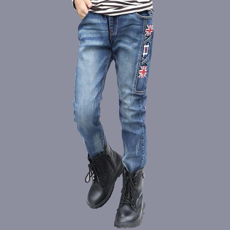 6a4e1e550 Wholesale 2017 Autumn New Arrival Style Pants Jeans For Boys Blue Denim  Elastic Waist Long Trousers