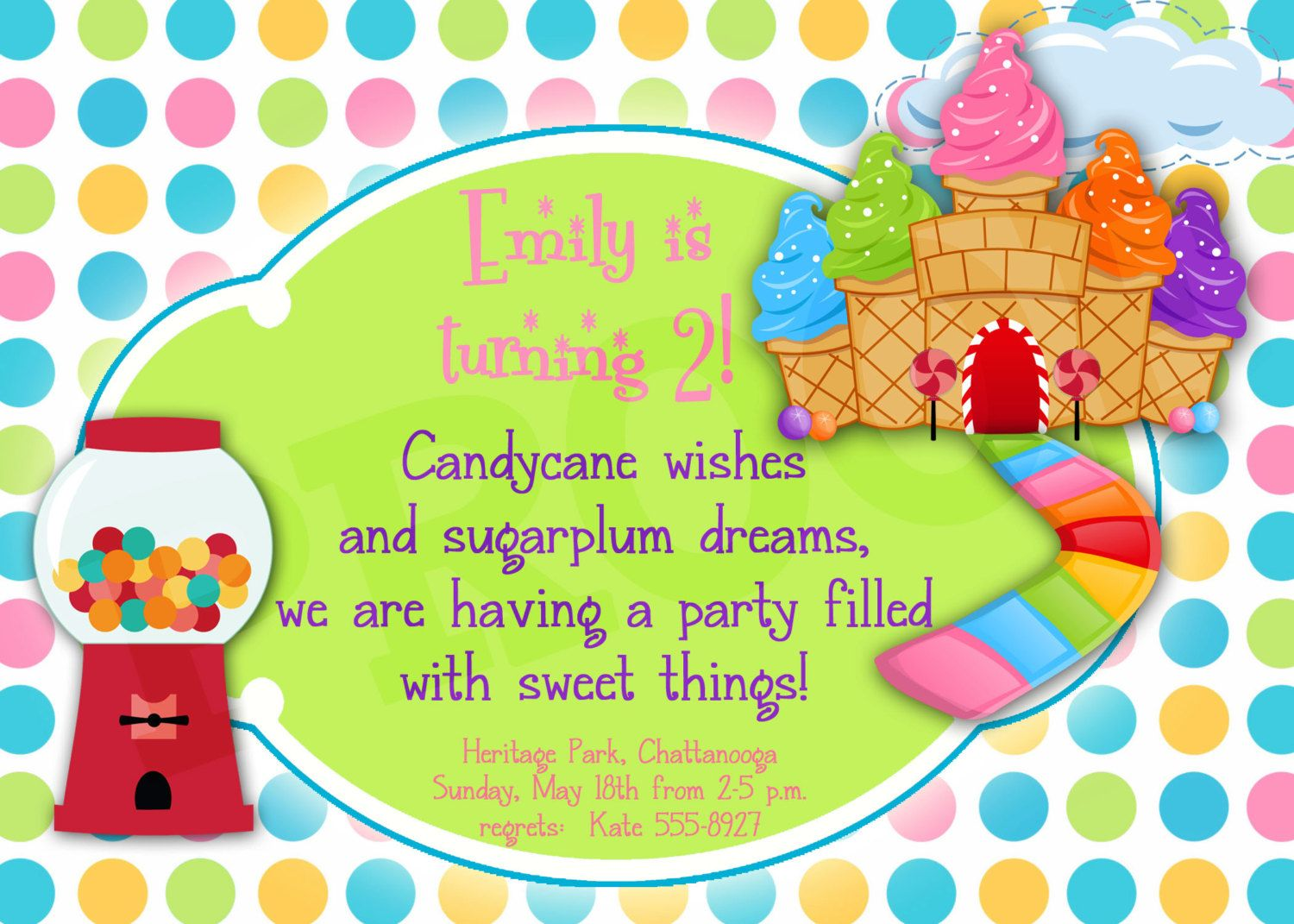 Printable Candyland Birthday, Printable Invitation, Girl party ...