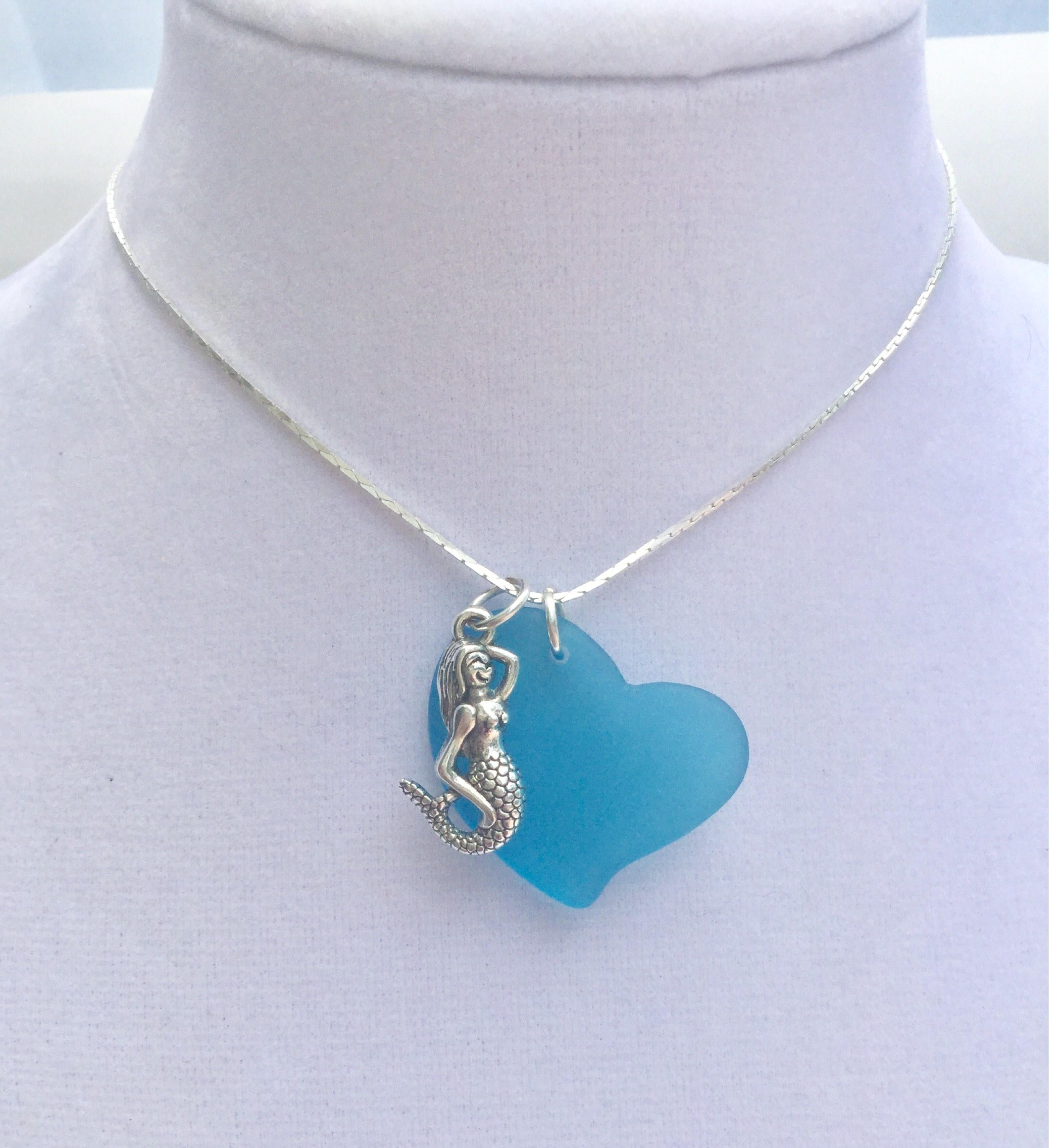 Photo of Sea Glass Necklace , blue heart necklace  ,beach jewelry , gift fot her , blue Seaglass necklace , coastal jewelry nautical