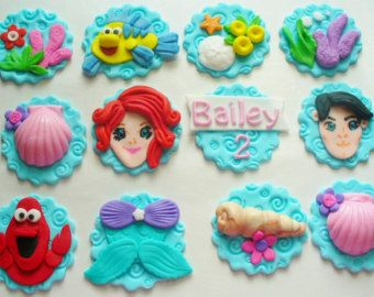 12 LITTLE MERMAID ARIEL Edible Fondant Cupcake Toppers