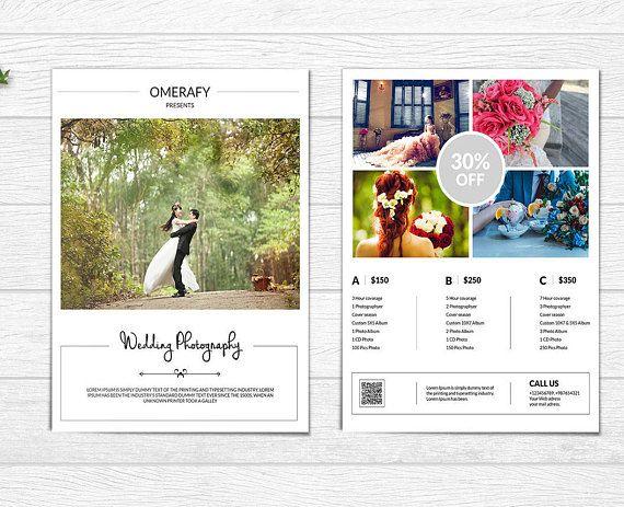 Photography Price List Flyer Template Wedding Photography - wedding flyer