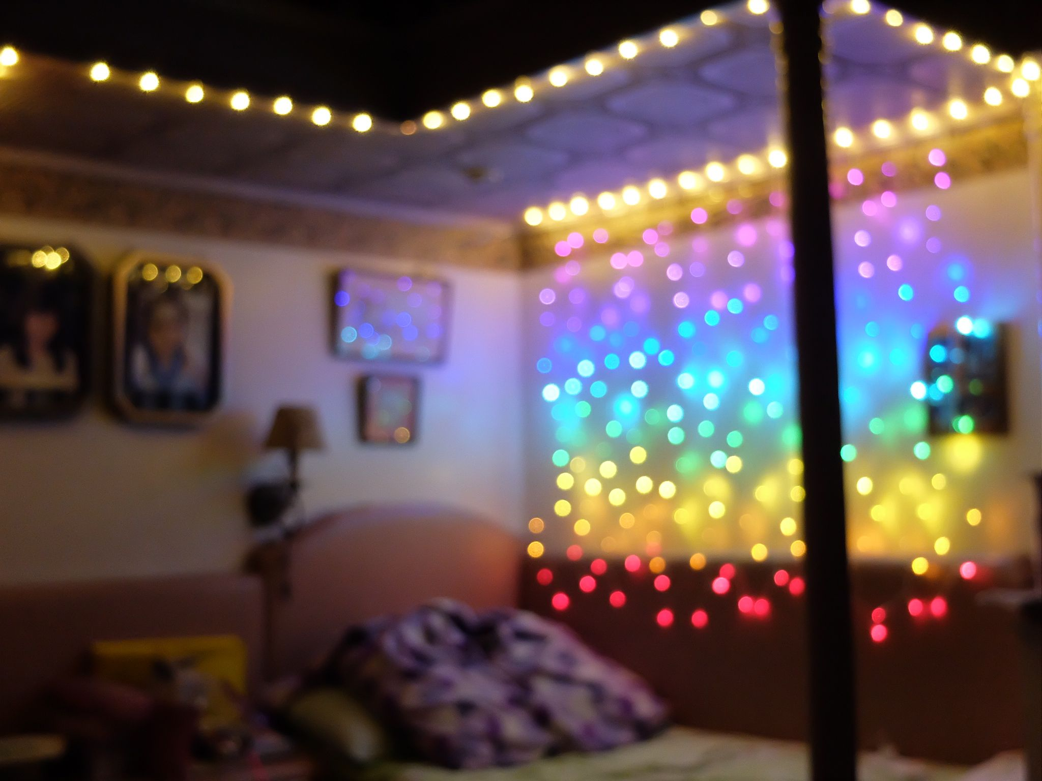 Purple christmas lights bedroom - Bedroom Goals Achieved I Decorated My Room Using Rainbow Curtain Lights And Fairy Lights From