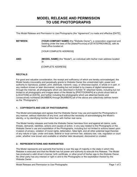 Model Release And Permission To Use Photographs  Template