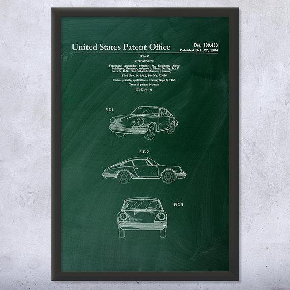 Framed 911 Sports Car Print, Gift For Car Lover, Car Enthusiast, Classic Car, Mechanic Gift, 911 Spyder, Muscle Car, Vintage Car