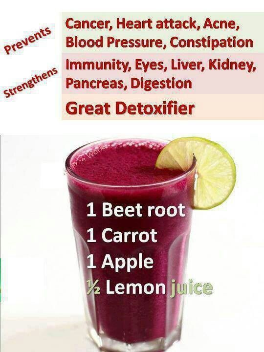 JUICE RECIPE: * 1 beetroot * 1 carrot * 1 apple and * 1 lemon Choose organic and local where possible. Simply wash the ingredients but there is no need to peel them. Chop into chunks and chuck in a juicer. For optimum benefits it should be consumed immediately. It really is that simple! edf0fd9ffe0225e203f4da1ac7a64f11