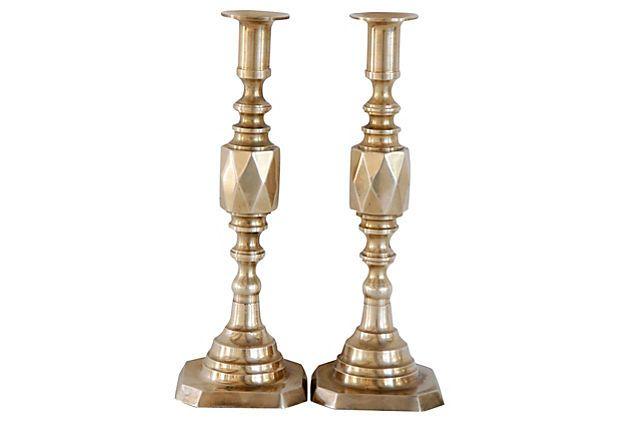 Brass Candleholders w/ Diamond Shape on OneKingsLane.com